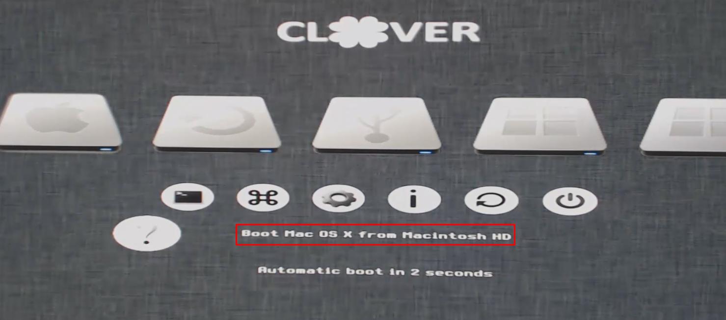 No Clover, selecione o disco onde você instalou o sistema para dar boot.